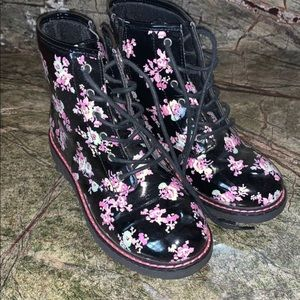 TCP black floral combat boots 4